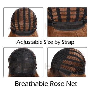 Image 5 - AISI 髪ロングストレート前髪ダークルートオンブル茶色のかつら女性 18 インチ自然な髪コスプレかつら