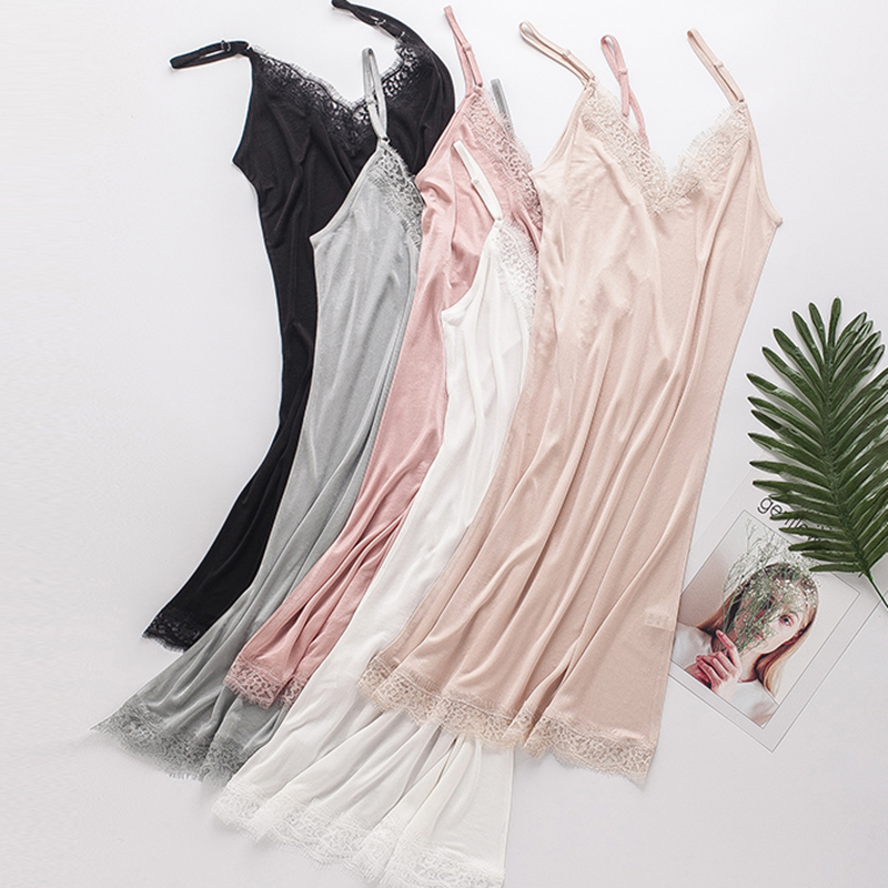 Women Full Slips 100% Natural SILK Lace Underdress Sleeping Dress Home Sexy Intimates Summer Backless Femme White Black