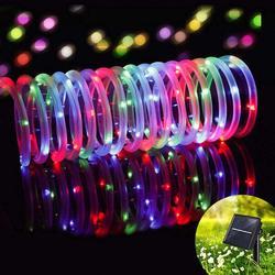 12M LED Outdoor Solar Lampen 100 LEDs Touw Tube String Lights Fairy Holiday Christmas Party Solar Tuin Waterdicht Lichten-in Verlichtingsstrings van Licht & verlichting op