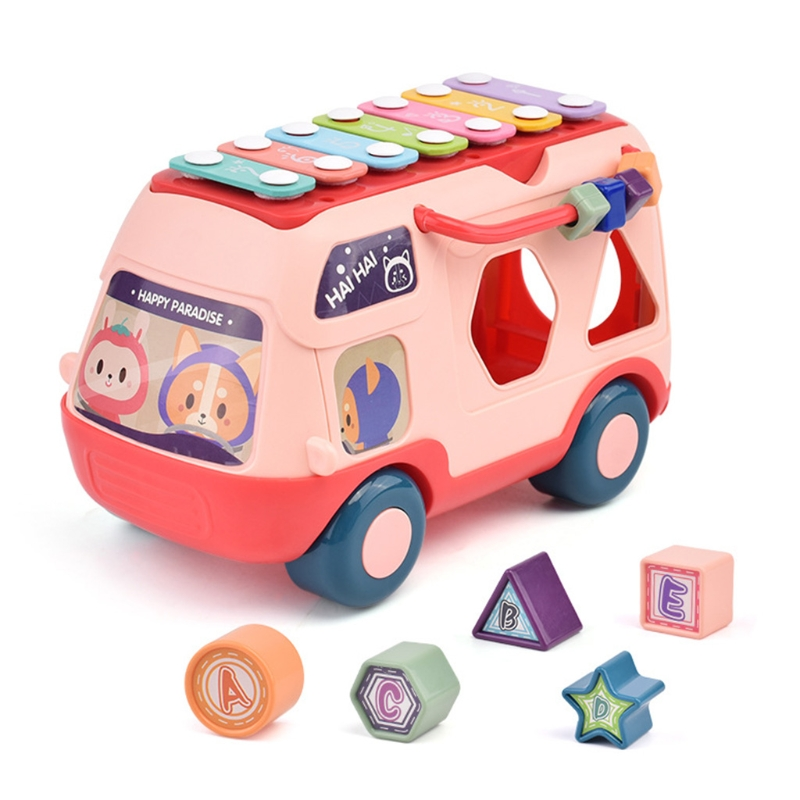 Musical Instrument Baby Toy Knock Piano Music Bus Shape Sorter Early Education J2HD
