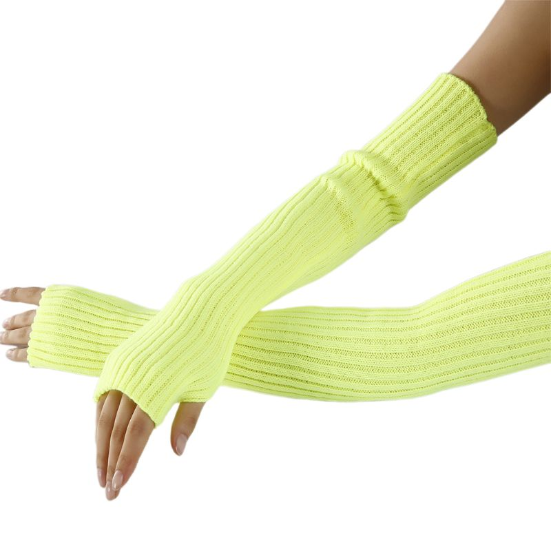 Women Neon Bright Solid Color Fingerless Gloves Ribbed Knit Crochet Dance Over Elbow Long Arm Warmers Mittens With Thumb Hole