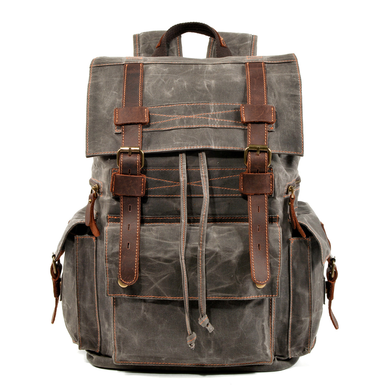 Retro crazy horse leather men's backpack large capacity 15.6 inch laptop shoulder bag first layer leather male travel backpack