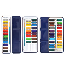 18/24 Color Solid Watercolor Portable Tin Box Paints Set for School Student Coloring Drawing Painting Stationery Art Supplies