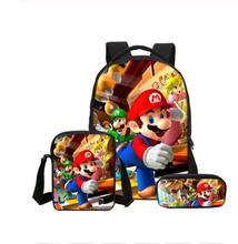 16 cali 3 sztuk zestaw tornister Super Mario drukowanie plecak dzieci połączenie Bookbag moda chłopiec plecak szkolny codziennie Mochila tanie tanio Poliester zipper Cartoon KK88 Unisex 29cm 0 5kg 17cm Torby szkolne Polyester 42cm