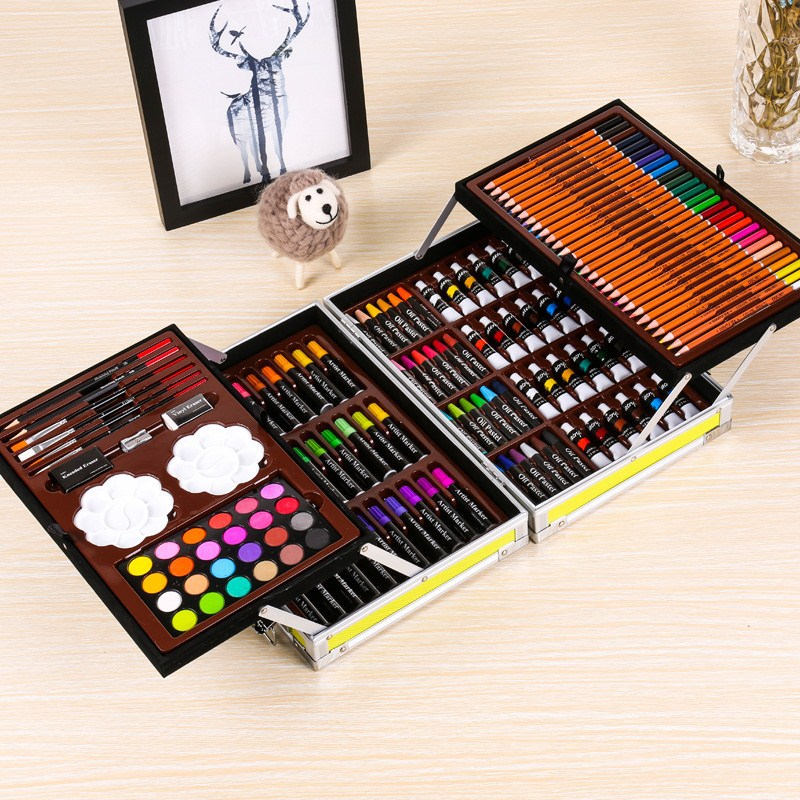 Painting Supply Double decked Aluminium Box Watercolor Pen Set Children's Gift Box Students Stationery Prizes Paint Supplies