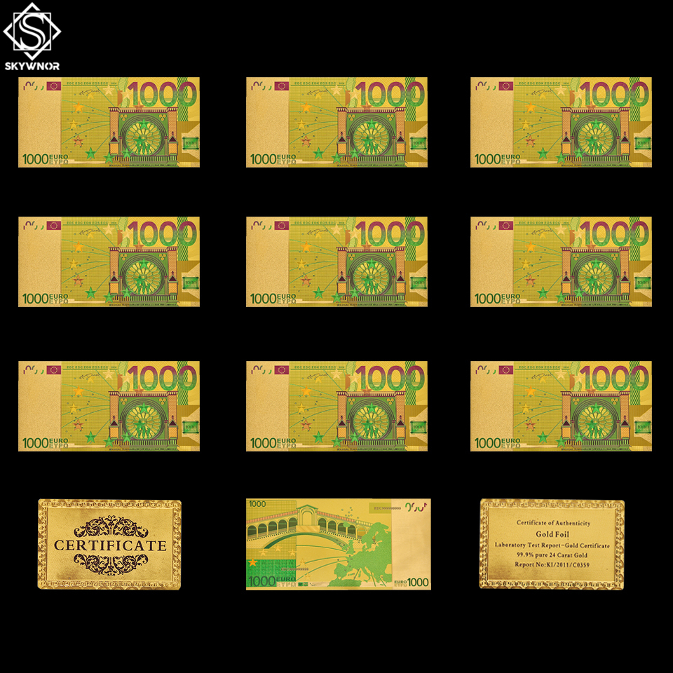 10PCS/Set Colored Gold <font><b>Banknote</b></font> <font><b>Euro</b></font> <font><b>1000</b></font> ECU <font><b>Banknote</b></font> Money Souvenir Gift image