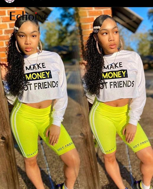 Echoine Women Sexy letter Print Two Piece Set Long sleeve T-shirt Shorts Suit Jogger Tracksuit Matching Party Outfit Streetwear 4