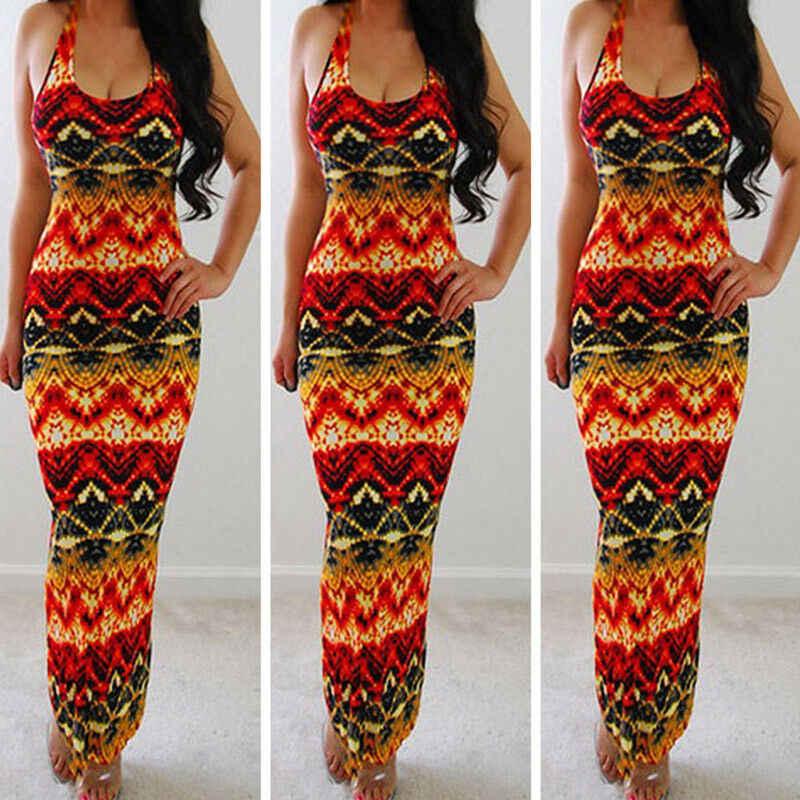 2019 New Womens Summer Boho Maxi Dress Print Sleeveless Evening Party Beach Dresses Sundress New
