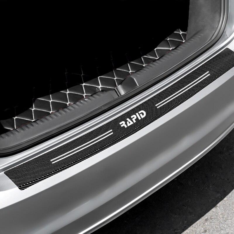 1pcs 90*7cm Rear Bumper Protection Carbon Fiber Sticker Decoration For Skoda Rapid 2014 2015 2016 2017 2018 Accessories