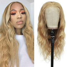 Body Wave Lace Front Human Hair Wigs Pre Plucked Brazilian 13X4 Lace Wigs 27 30 Light Brown Remy Hair Wigs For Black Women 150%(China)