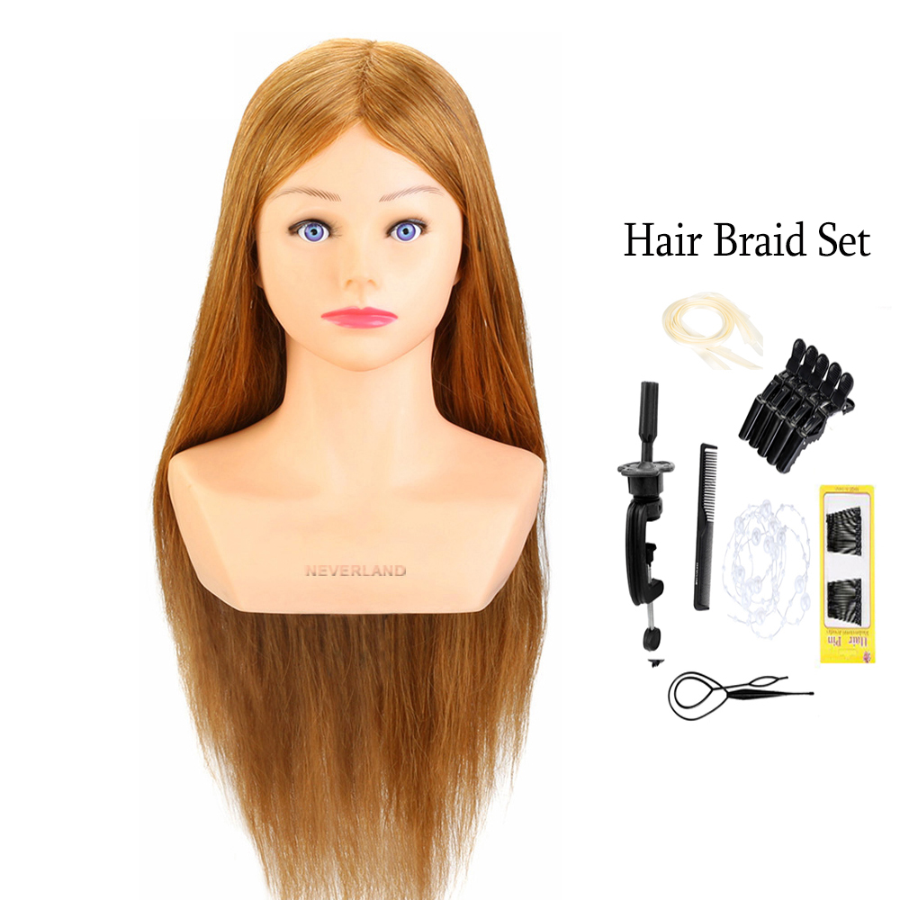 100% Real Human Hair 24'' Hairdressing Training Head Hairstyle Doll With Shoulder Braiding Curling Practice Mannequin Head image