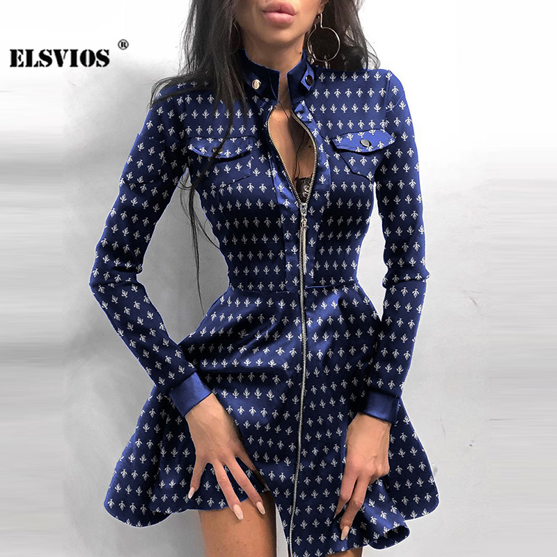 Sexy Stand Collar Print Zipper Long Sleeves Mini Dress Casual Autumn Winter Fashion Pocket Pu Leather Dress Elegant Slim Dresses