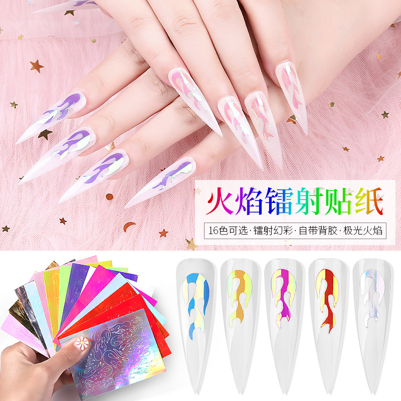 Manicure Color Flame Adhesive Paper Nail Sticker Lei She Tie Symphony Manicure Flame Stickers Refers To Bronze 16 Ribbon Gum