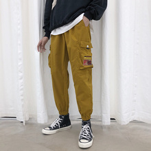 2019 Autumn Leisure Time Pants Tide Easy Overalls Bound Feet Nine Part Male Long sweatpants hip hop Chinese Style Black Yellow