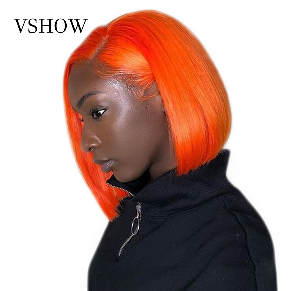 VSHOW Straight Lace Front Bob Wigs Brazilian Remy Human Hair 150% Density Lace Wigs Orange Colored