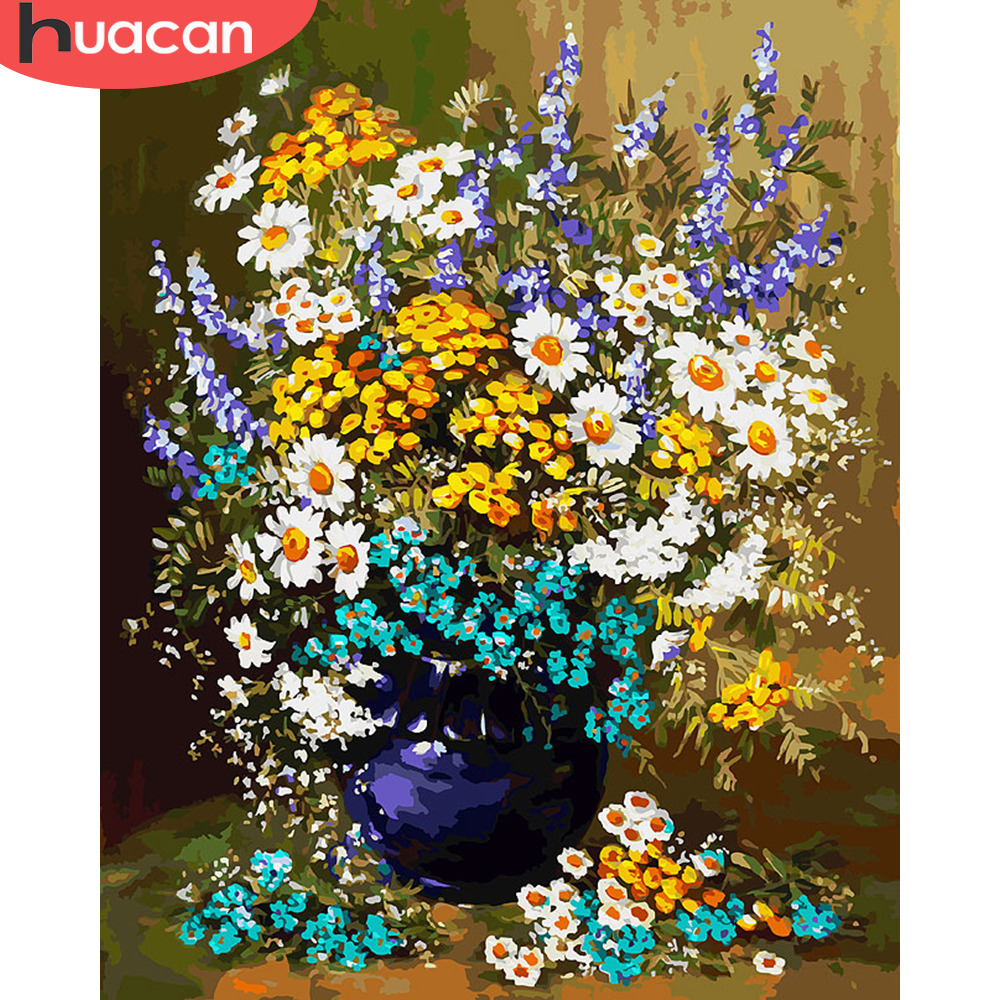 HUACAN DIY Oil Painting By Numbers Flowers In Vase HandPainted Kits Drawing Canvas Pictures By Numbers Landscape Home Decor