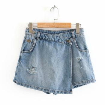 New 2020 women vintage pockets broken hole leisure Shorts skirts ladies casual slim zipper hot shorts chic pantalone cortos P810