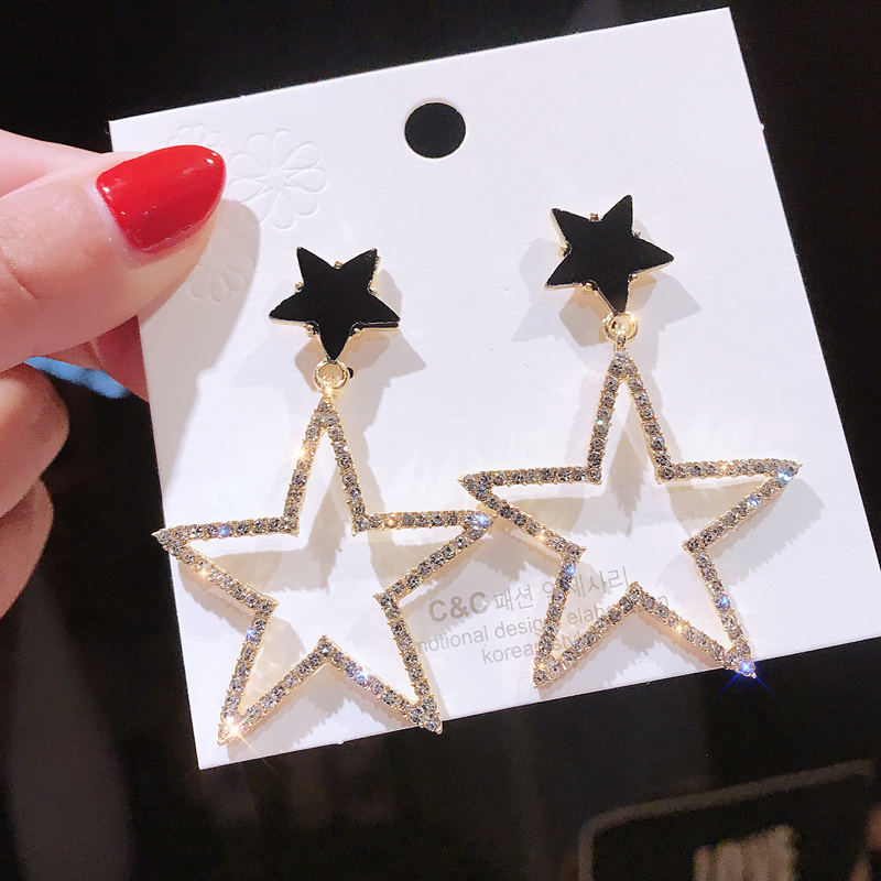 925Personality exaggerated five-pointed star ear nail female Korean temperament long paragraph pendant wild personality earrings(China)