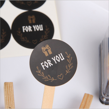 120pcs/Lot Cute For you Seal Sticker Round Black Mutifunction DIY Decorative Gifts Package Labels for Baking - discount item  45% OFF Stationery Sticker