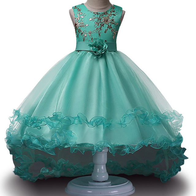 Girls Sleeveless Princess Children flower Party dress Wedding 3-12 Years Girls Trailing Party Prom High Quality Lace vestido 1