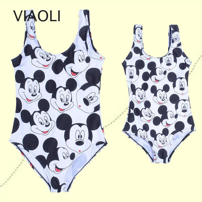 Satu Potong Baju Renang untuk Wanita Gadis Musim Panas Pantai Mickey Cetak Baju Renang Seksi Backless Pakaian Renang untuk Wanita Plus Ukuran pakaian Renang