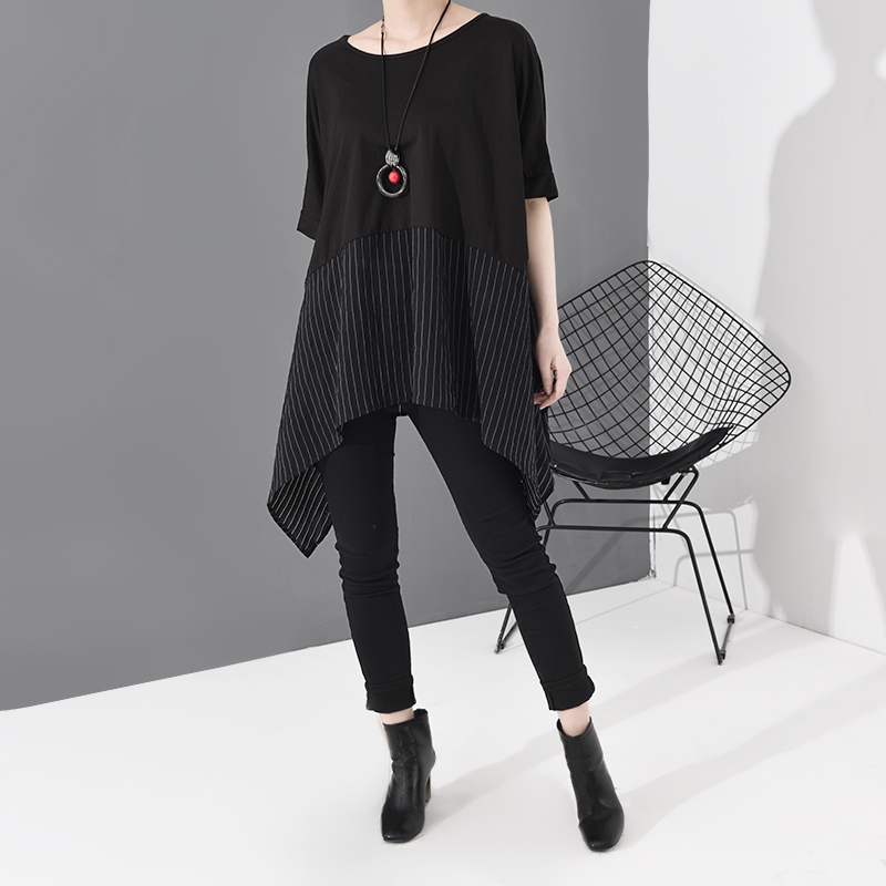 [EAM] Women Black Striped Asymmetrical Big Size T-shirt New Round Neck Short Sleeve  Fashion Tide  Spring Summer 2020 JS953 4