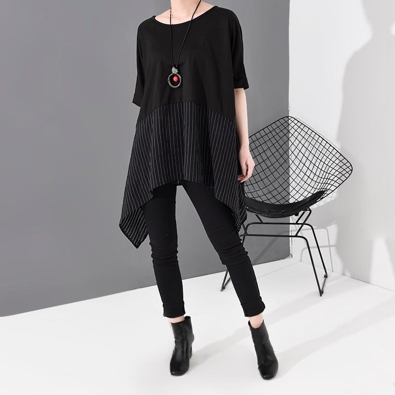 [EAM] Women Black Striped Asymmetrical Big Size T-shirt New Round Neck Short Sleeve  Fashion Tide  Spring Summer 2020 JS953 4