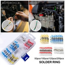 50Pcs Heat Shrink Butt Crimp Terminals Waterproof Solder Wire Cable Splice Terminal Kit for Boat Automobile Motorcycle