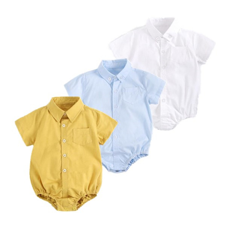 2020 Baby Clothing Boys Baby Shirt Newborn Cotton Short-sleeved Baby Clothes Solid Color Triangle Jumpsuit For  Infant Bodysuit