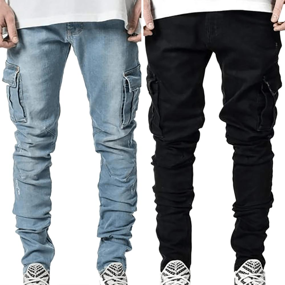 2020 new men's Japanese and Korean fashion casual pocket jeans men's jeans