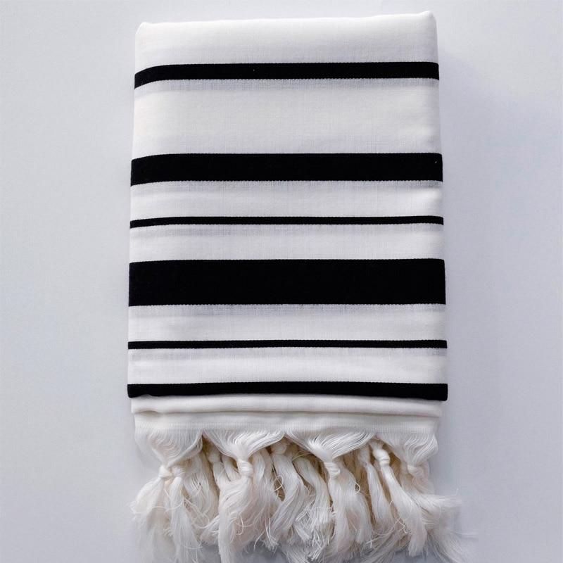 Israel Tallit Jewish Prayer Scarf 100% Wool Tallit Jacquard White Color With Black Stripes Size: 150*185cm Weight :500g