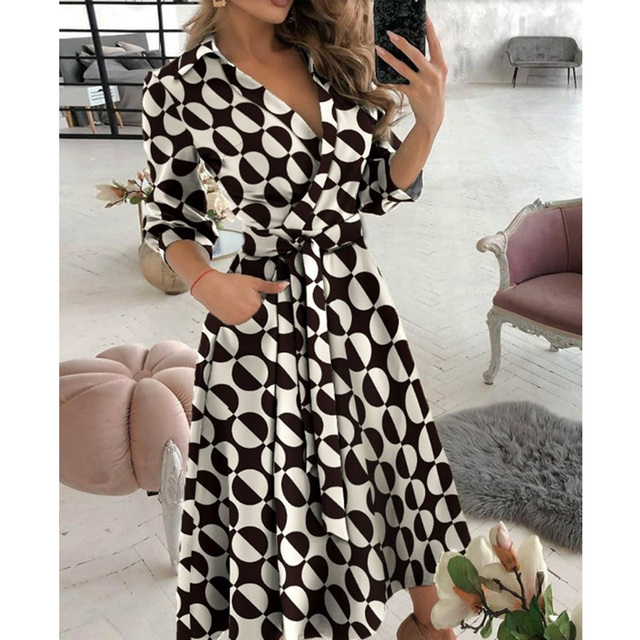 New Fashion Women Casual V Neck Long Dresses Chic Geo Pattern Graphic Print Pocket Design Wrap Dress 2