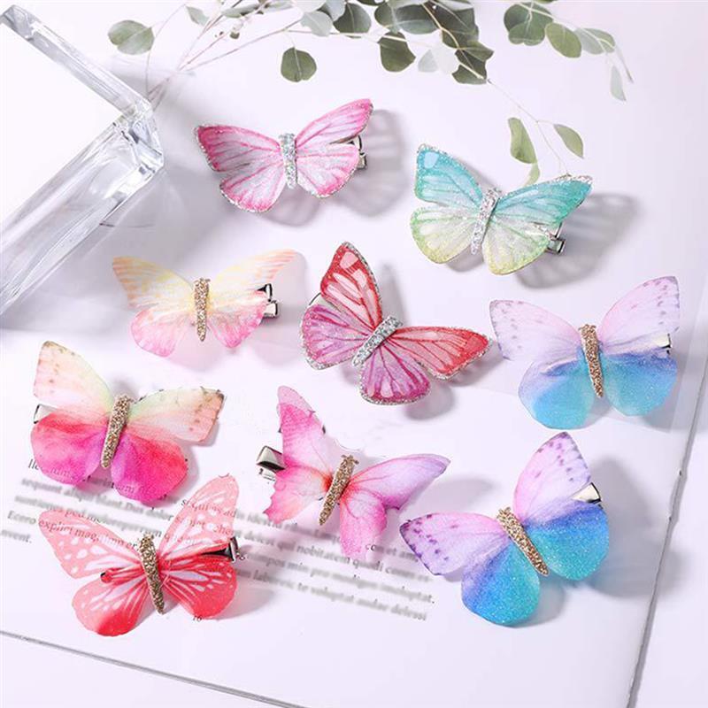 1 Pair Creative Kids Hair Clip Shiny Cute Decorative Butterfly Hair Pin Hair Barrette Hair Accessories Children's Gift