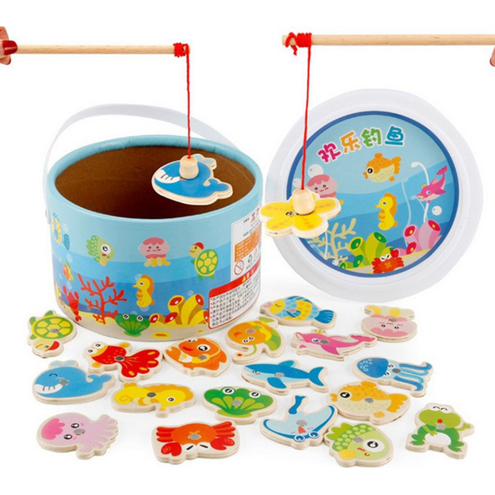 Barreled Wooden Magnetic Fishing Toys Set Baby Bath Toy Learning Education Play Set Fishing Game Kids Indoor Outdoor Fun Baby