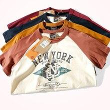 2021 Summer New Raglan Sleeve Letter Printed T-shirt Men's Fashion Short-sleeved Round Neck 100% Cotton Bottoming T Shirt Tops