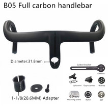 Carbon-Bar Bicycle-Handlebar Integrated Cycling Road Black NEW Matt