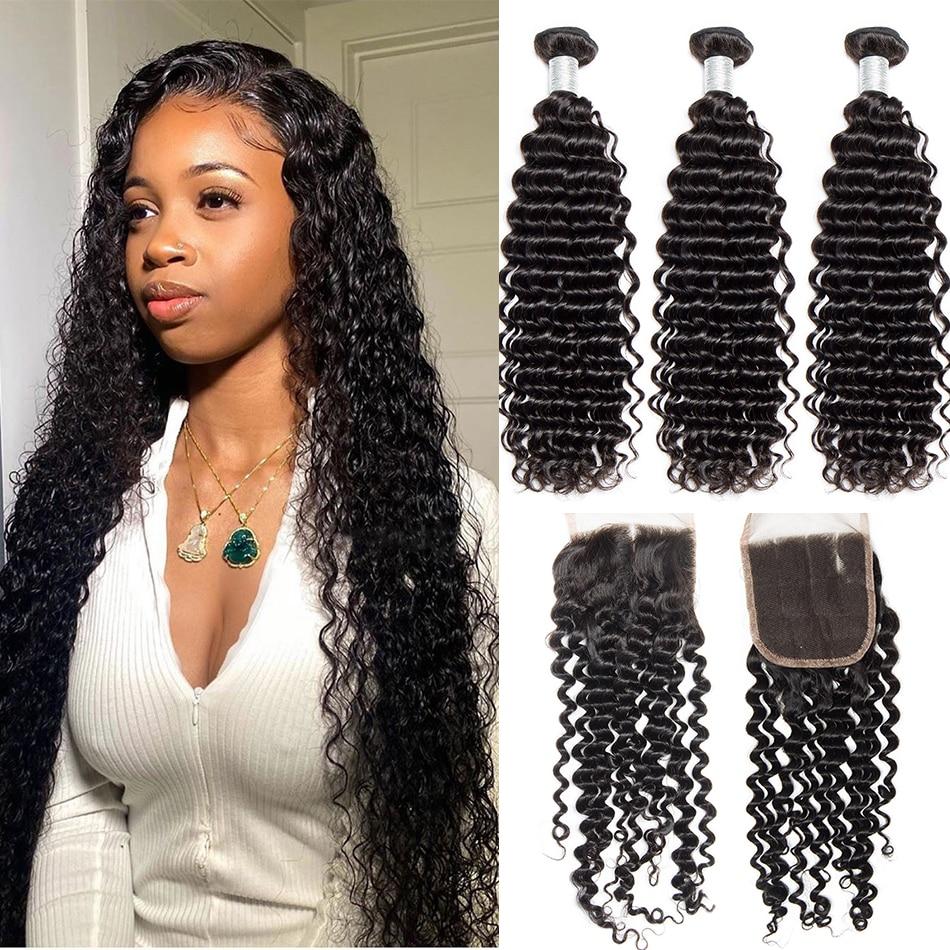 Alibele insan saçı 3/4 demetleri ile kapatma ile brezilyalı derin kıvırcık saç örgü demetleri kapatma ile Remy saç ekleme 4x4Closure