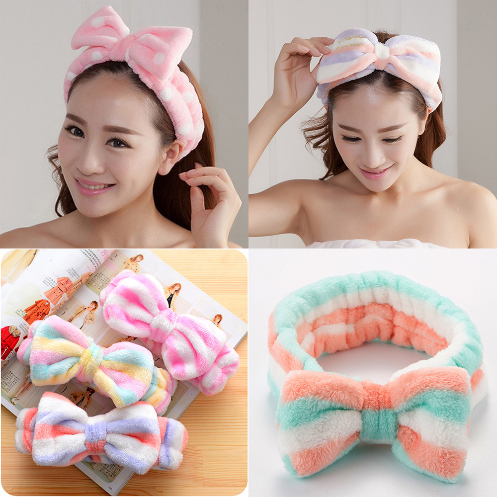 Women Elastic Velvet Washable Hairband Band Bow-Knot Cute Hair Accessories Ladies Twisted Lady Makeup Headband Elastic Headwear