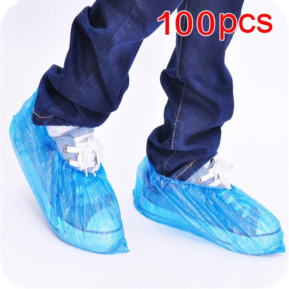 100pcs Disposable Boot & Shoe Covers Extra Thick Water-Resistant Protective Foot Booties Non-Slip Recyclable