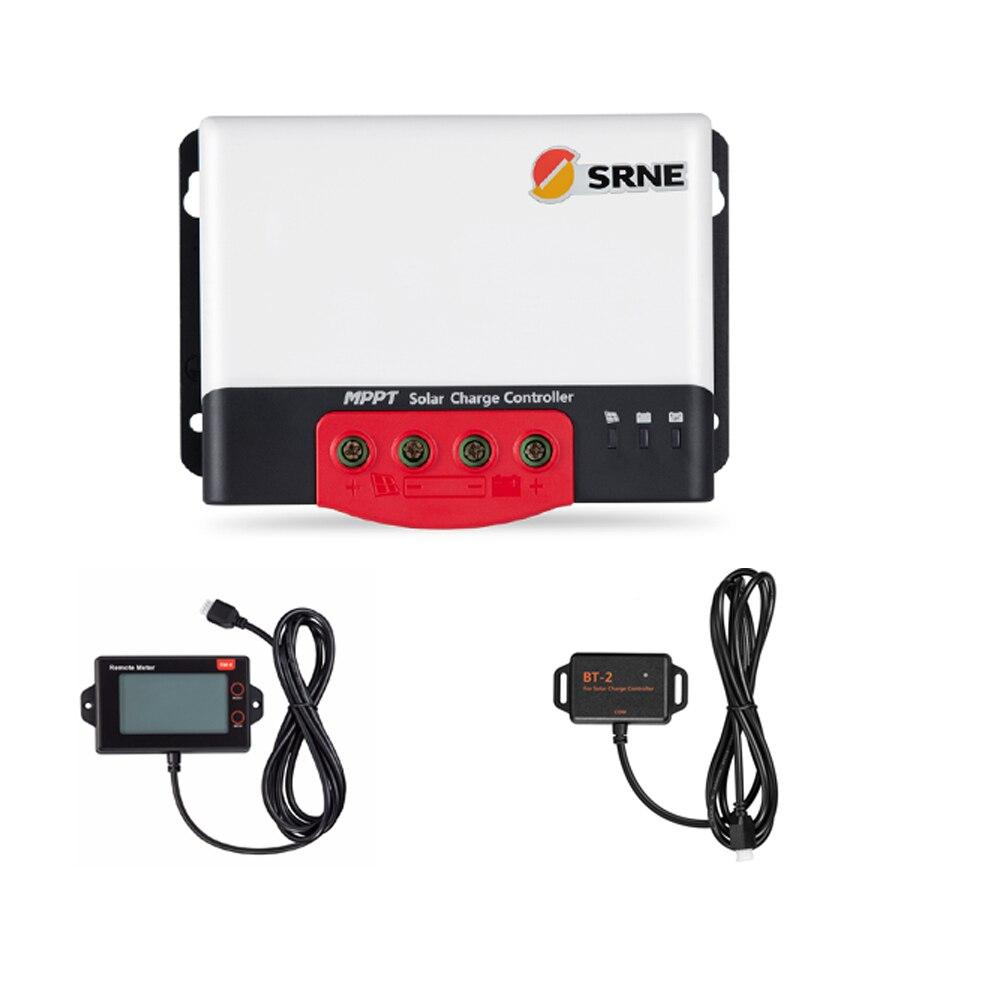 SRNE MC2420N10 20A 12v 24v faire contrôleur de Charge solaire bleu ciel MPPT avec module Bluetooth BT-2 et Module LCD RM-6