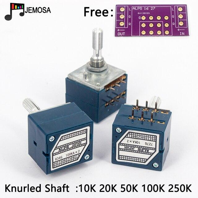 1PC יפן האלפים RK27 נפח יומן סטריאו פוטנציומטר 2 כנופיה כפולה 10 K/20 K/50 k/100 K/250 K פוטנציומטר מוט מחורץ + PCB