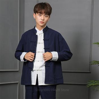Tradycyjna chińska odzież strój Tang mężczyźni dorywczo orientalne Tai Chi garnitury męskie dorywczo kołnierz stójka w stylu Vintage Wushu odzież Kung Fu tanie i dobre opinie COTTON Poliester CN (pochodzenie) Tkane Tang Suit M L XL 2XL 3XL 4XL 5XL 9Colors Unisex Jacket Festival Party New Year Clothes
