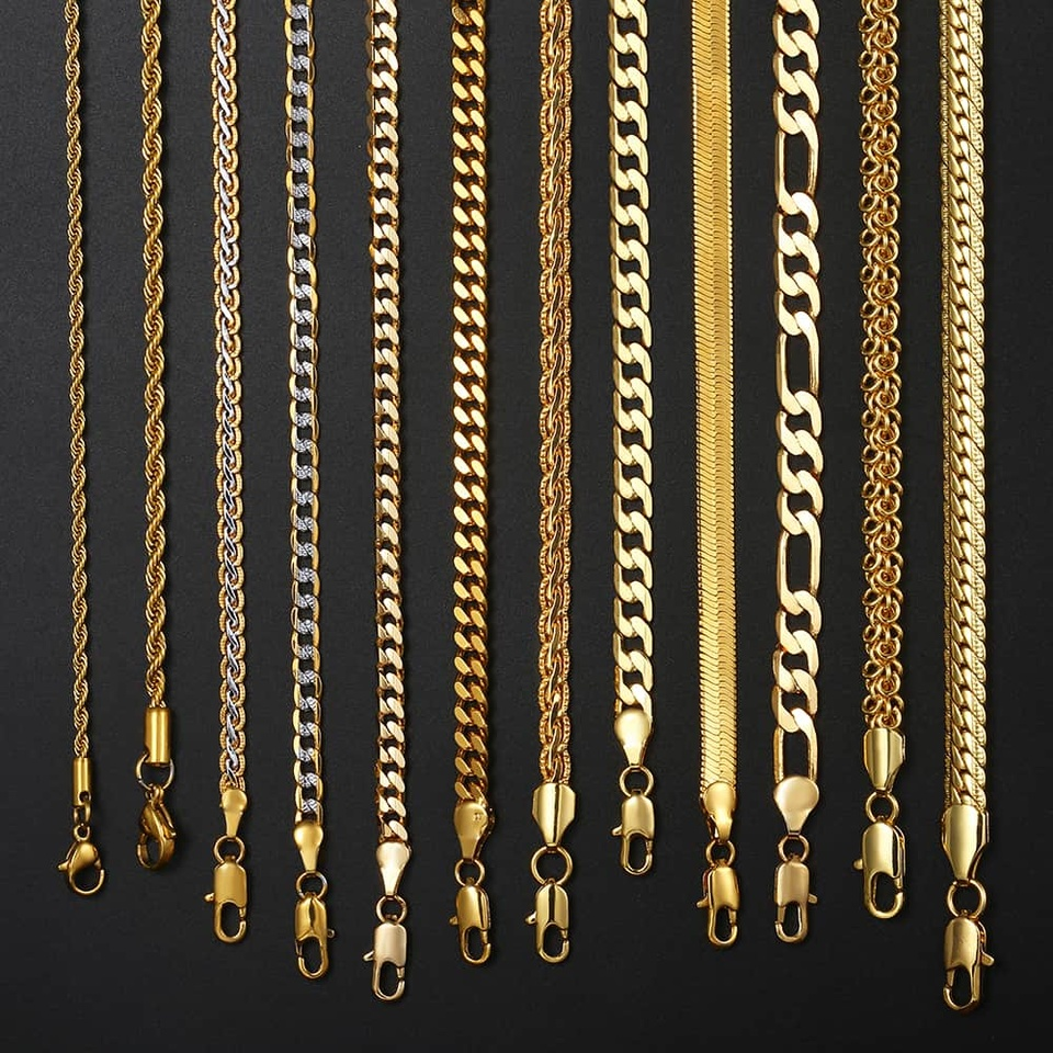 14 Styles Gold Necklace For Men Women Snake Wheat Figaro Rope Cuban Link Chain Gold Filled Necklace Male Jewelry Gift Wholesale Chain Necklaces Aliexpress