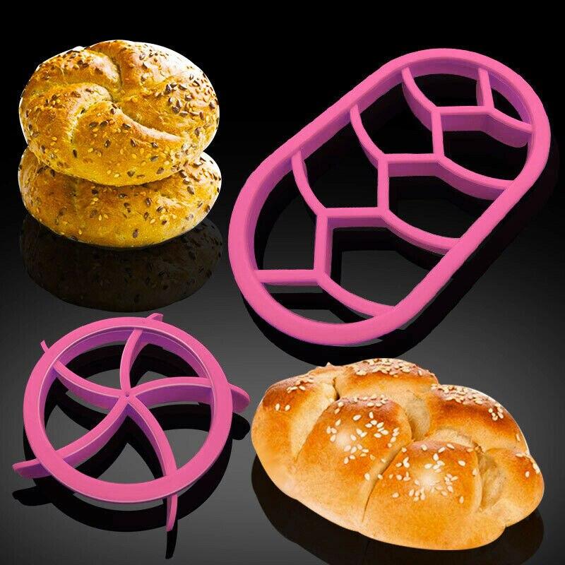 2 Buah Roti Cetakan Plastik Adonan Pastry Cutter Cookie Biskuit Cetakan Tekan Melingkar Oval Roti Cetakan Berbentuk Kipas Pastry Cutter adonan
