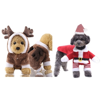Christmas Dog Clothes For Small Large Dogs Pet Cat Costume Santa Claus Costume Funny Winter Dog Coat Warm Cat Jacket image