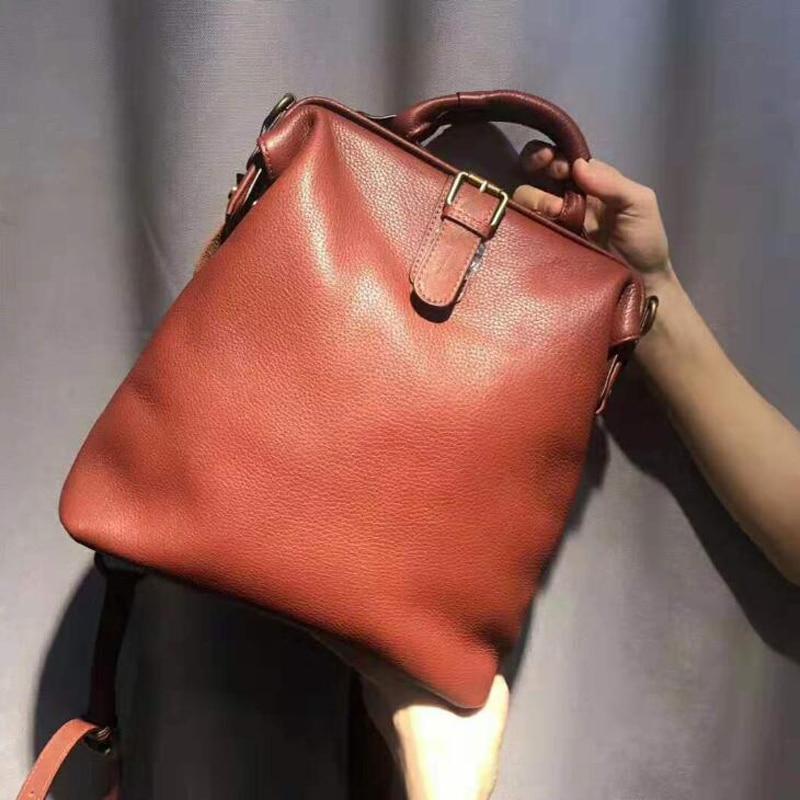 Dual-use Women Ladies Cowhide Backpacks For Teenage Girls Retro Classic Genuine Leather Female School Shoulder Bag Pack Mochila