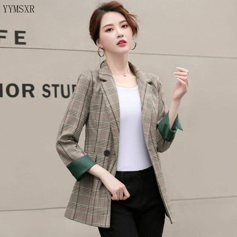 Casual high quality fabric autumn and winter ladies jacket feminine small suit 2020 Korean New Slim Plaid Women's Blazer Coat