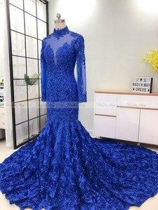 Image 5 - Robe de bal sirène, motif Floral 3D, col montant, manches longues, grande taille africaine, tenue de soirée formelle, Train Court, bleu Royal