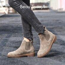 Beautodayチェルシーブーツ女性弾性足首豚スエードブローグ本革品質ブランド女性の靴手作り04016