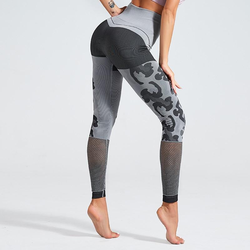 SVOKOR Women's Leggings High Waist Stitching Camouflage Printed Leggings Sexy Hollow Bodybuilding Seamless Pants